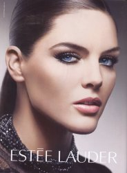Beautiful-Brunette-Model-Hilary-Rhoda-Modeling-For-Estee-Lauder-Modeling-In-A-Perfect-Ponytail-How-To-Make-A-Ponytail-For-Models